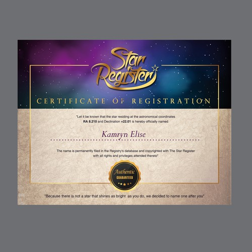 Star Register Certificate