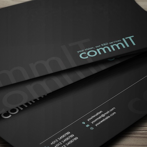 "Modern business card for ""Comm-IT Technology powerhouse"""