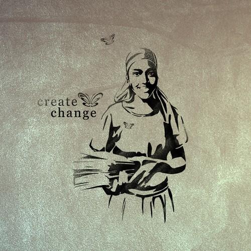 Create Change Girl's Education Illustration & Stencil