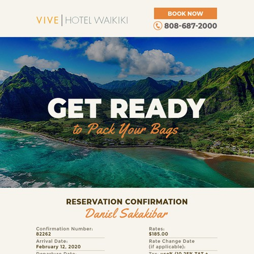 Confirmation Email for Boutique Hotel in Hawaii