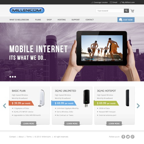 ★ Design Millenicom's new mobile broadband website ★ GUARANTEED ★