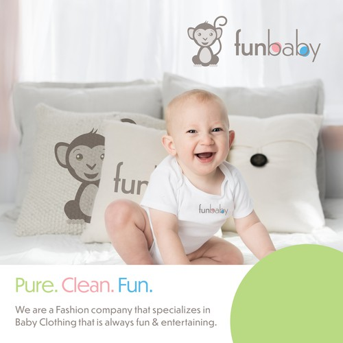 Pure, clean fun design for a baby clothing brand