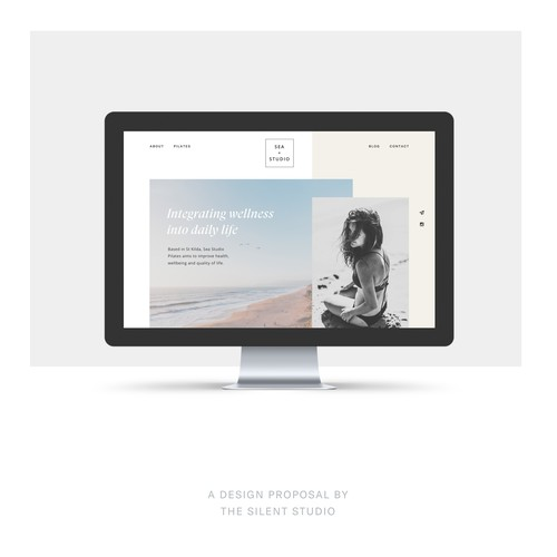 Screendesign proposal for a Pilates Studio by the sea