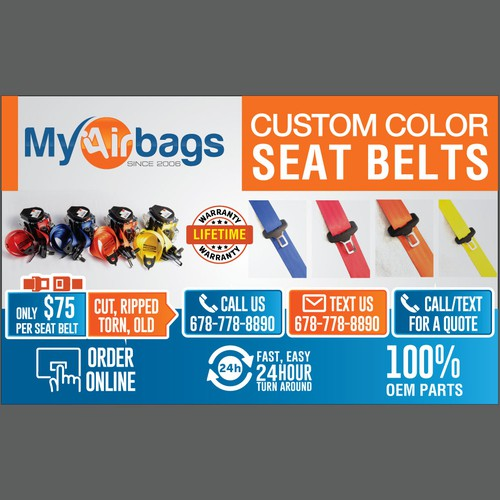 Custom Color Seat Belts