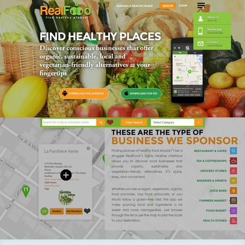 Create a website for RealFood: Find healthy places