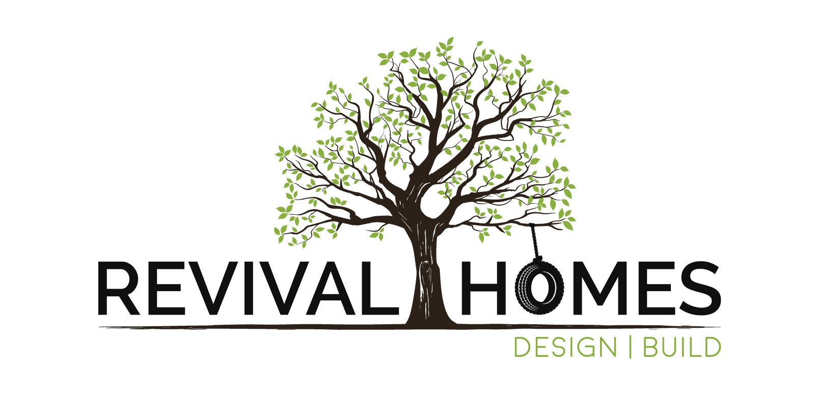 """Graphical logo for historic home builder """"Revival Homes"""""""