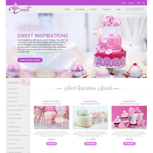 Sweet Inspirations web design