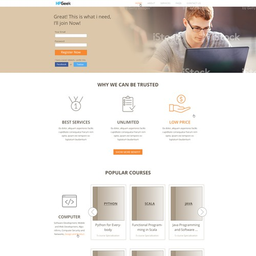 Landing Page design for e-Learning website
