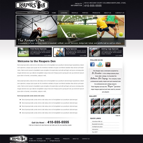 Indoor Sports Facility Web Design