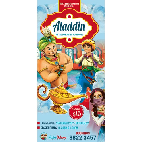 children's theatre, flyer for the show 'Aladdin'