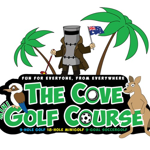 Australian Animal Cartoons playing golf and Ned Kelly Mascot holdingAustralian Flag Logo WANTED for Golf Course