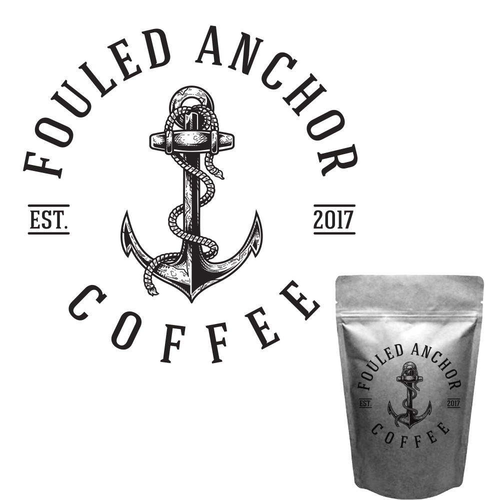 Design a logo for Fouled Anchor Coffee with a bit of a nautical theme.