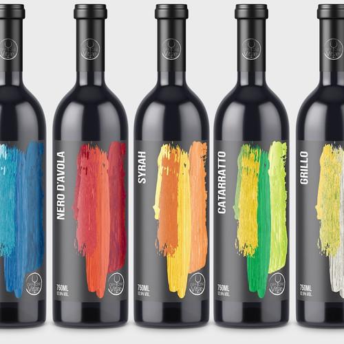 Minimal bold wine label range