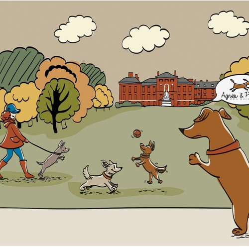 Illustration for dog walking website