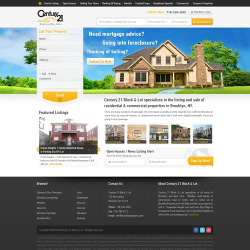 Help century 21 block & lot with a new website design