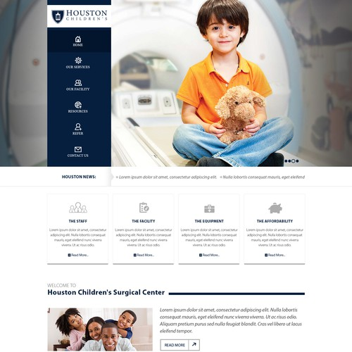 Create the next website design for Houston Children's Surgical Center