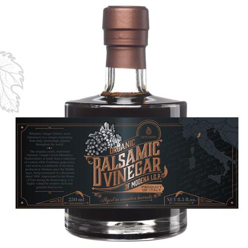 Balsamic vinegar label design.