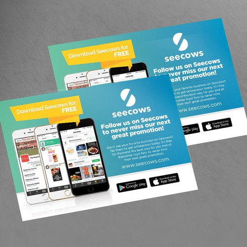 Clean Modern Design postcard for o mobile app