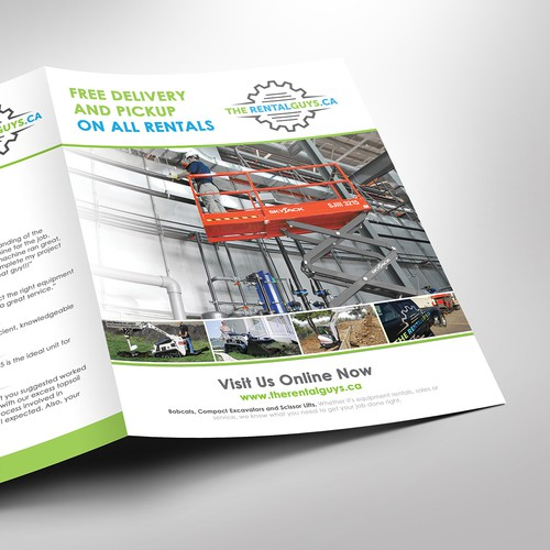 Bi-fold brochure for equipment rental company