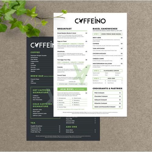 Caffeino Menu design
