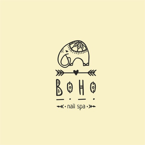A logo for nail spa in a bohemian style