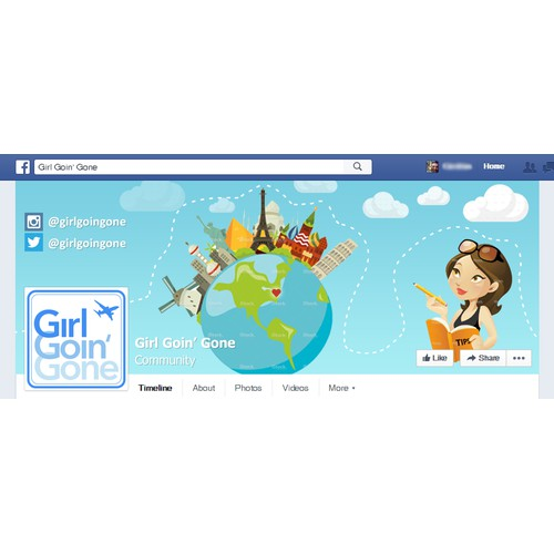 Create a fun Facebook cover image for a female travel and safety tips site