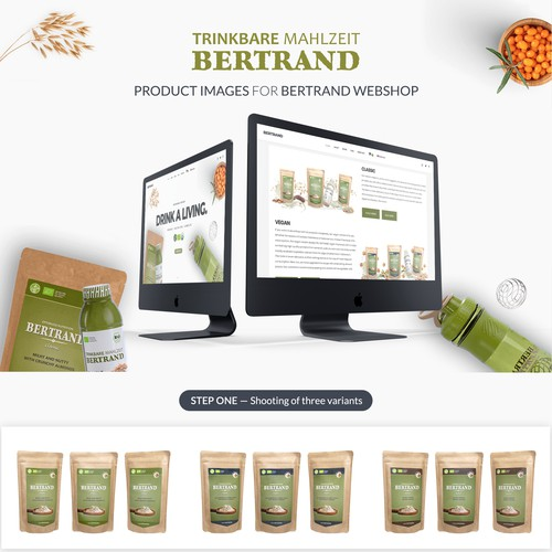 Create three product images for Bertrand Webshop