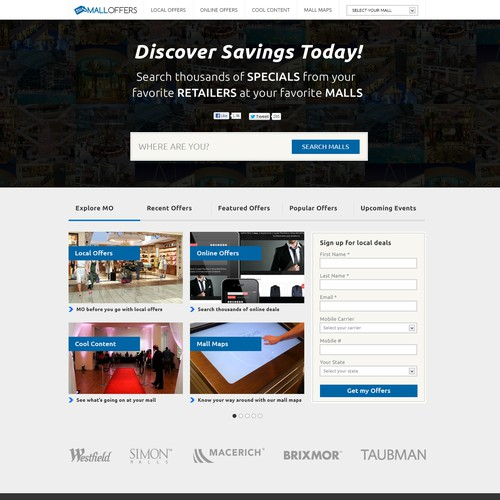 Mall Offers needs a new website design