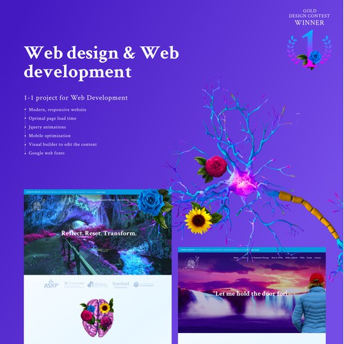 Web design & development, animations, Wordpress permium website for SoftRebootWellness by Hiroshy