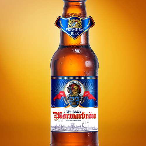 Wheat Beer Front Label for Bavarian Brewery