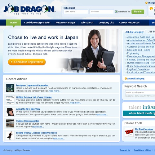 Redesign the JobDragon candidate and employer frontpage