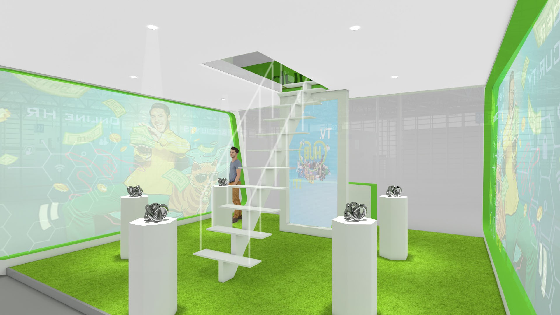 Telco brand exhibition booth custom design