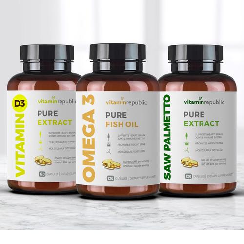 "Create a clean, minimalist and modern label design for brand ""Vitamin Republic""."