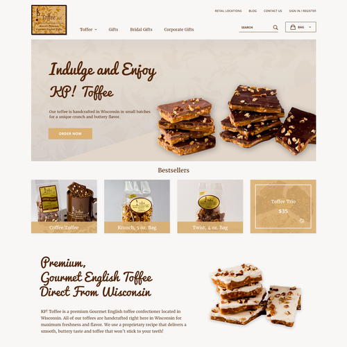 Wordpress theme design for KP Toffee
