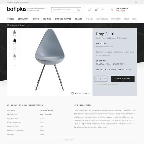 Furniture website design - Product page