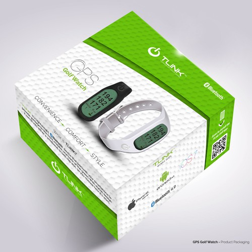 Create modern product packaging for GPS Golf Watch