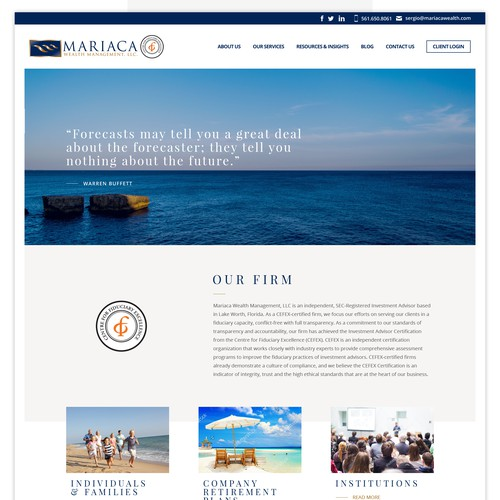 ariaca Wealth Management Website