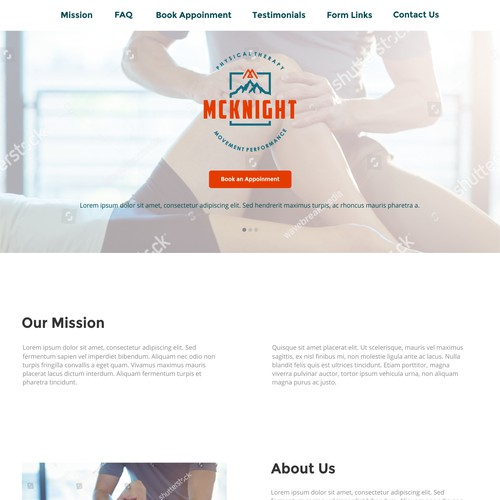 Design a WordPress landing page for Physical Therapist