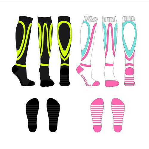 Design of sport compression socks