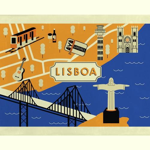 Illustrated Lisbon map