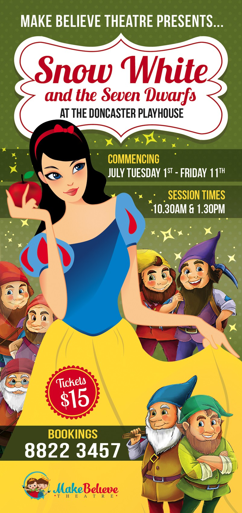 create a flyer advertising 'Snow White and the Seven Dwarfs'