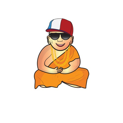 Young monk in hip hop style