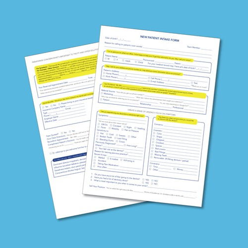 Patient Intake Form Page Design