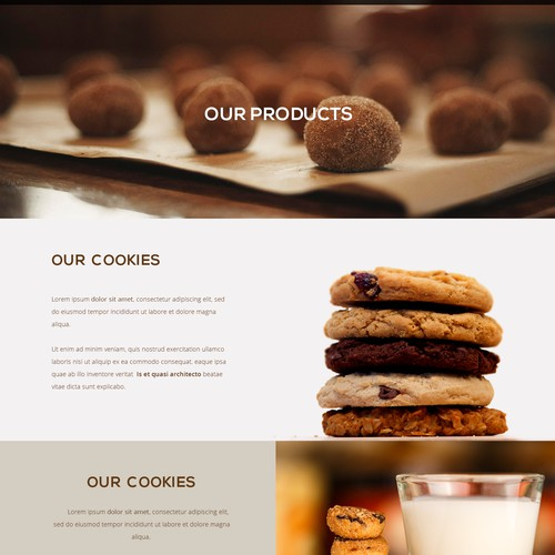 Website for a startup modern cookie company