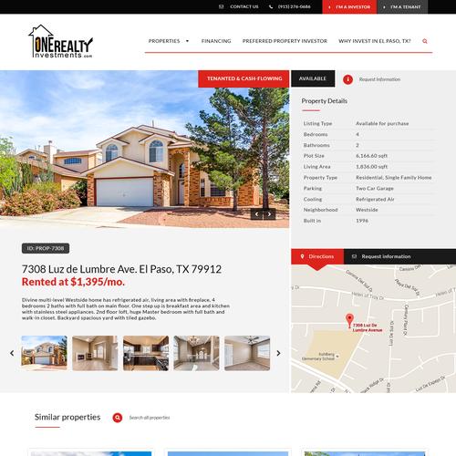 Property Page for Real Estate Investment Website
