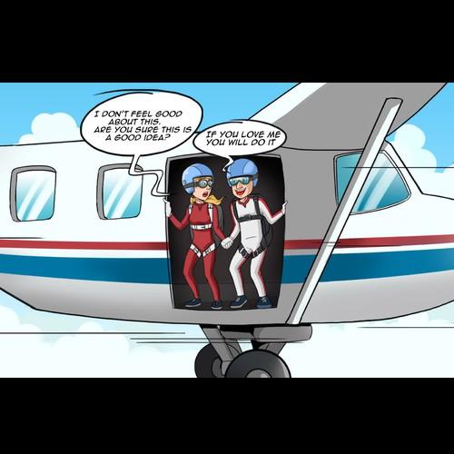 skydiver cartoon
