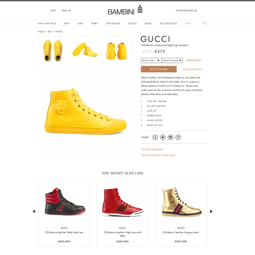 Online children fashion store single product page