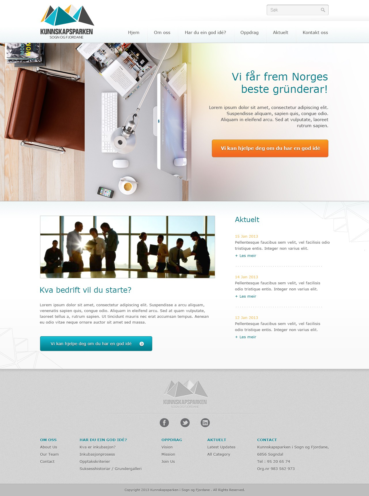 Responsive webdesign for company helping commercialization of new business ideas in Norway