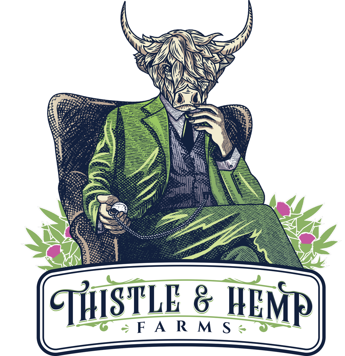 A simple character for the Thistle and Hemp Farms Pre-Roll Line