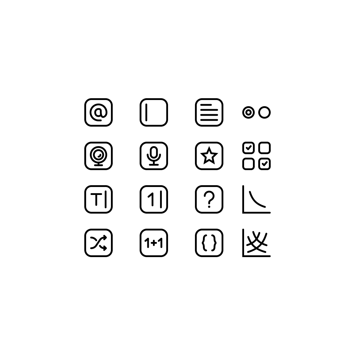 Create a set of icons for different types of survey questions